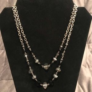 Sparkly Black and Silver Beaded Necklace
